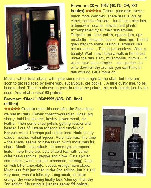 Porównanie do jednej z wersji Black Bowmore.  Źródło www.whiskyfun.com