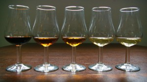 Od lewej: PX, Oloroso, Amontillado, Monzanilla, Fino